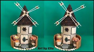 Idei creative,compozitie de toamna!Moară realizată din carton,pet,boabe de porumb,cafea,flori uscate
