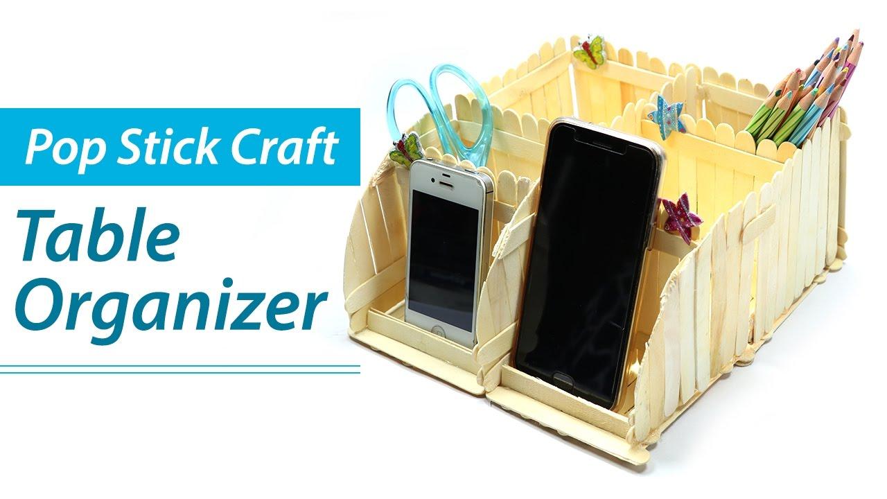 Popsicle stick crafts diy desk organizer phone stand ice cream sticks craft ideas also rh youtube