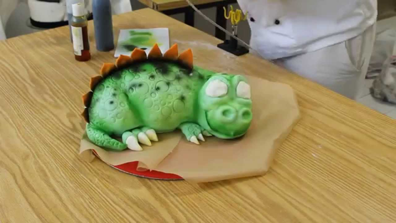 How to make airbrushed baby dino cake HD 720p YouTube
