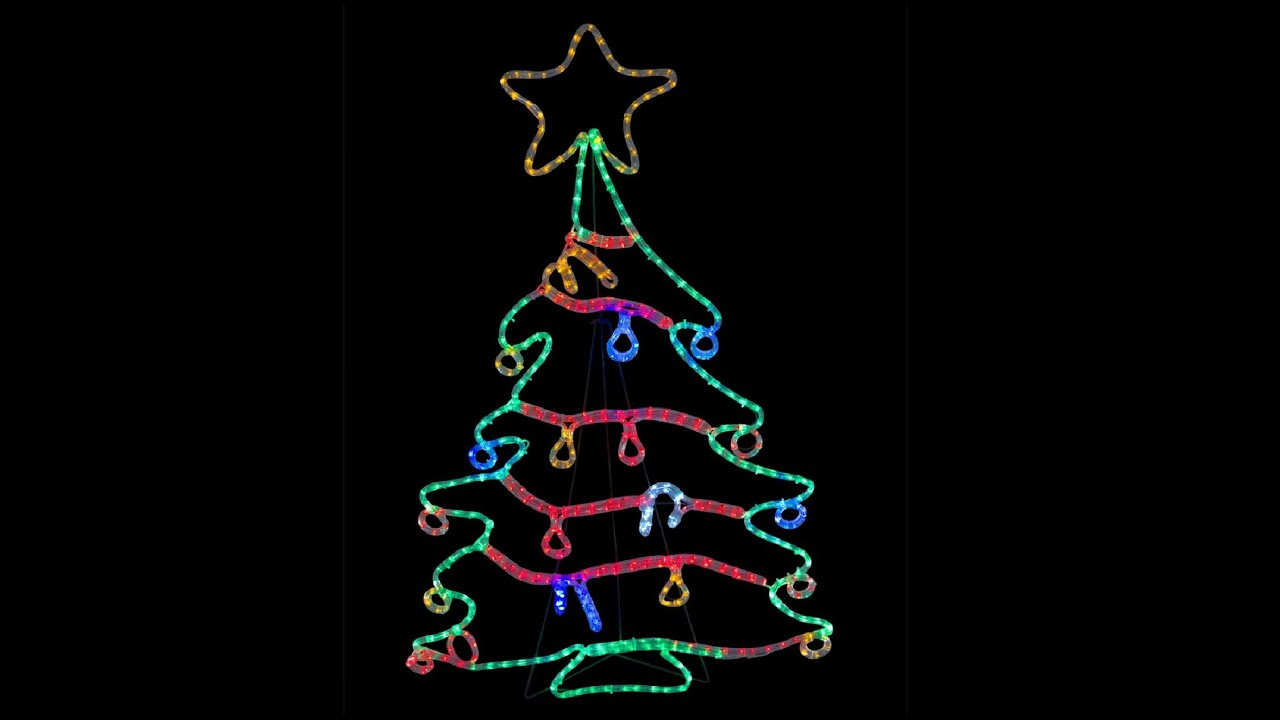 rope light silhouettes led christmas tree with decorations 12m youtube