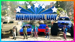 GTA ONLINE MEMORIAL DAY 2017 SPECIAL - BEST PATRIOTIC MILITARY VEHICLES, RARE CARS & FIREWORK SHOWS!