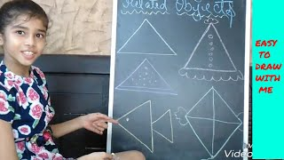 Draw Triangle shape objects/ 3 to 6 years children/ simple steps