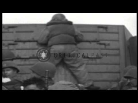 US Army landing crafts land invasion troops on beaches of Saint-Tropez,France dur...HD Stock Footage