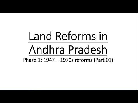 Land reforms in Andhra Pradesh and Telangana || Phase 1 (1947 - 1970s) || Part 01 || భూ సంస్కరణలు