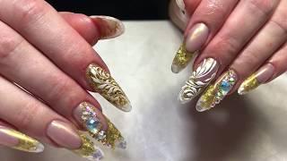 Новогодний маникюр: золотой френч и аквариум, втирка, роспись пастой EMI. Длинные ногти