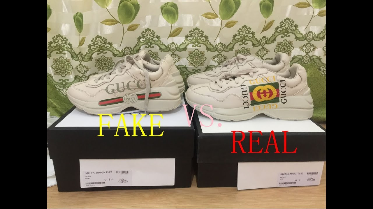 "Next To Real Retro S Fake Retro S: Comparison Real Vs Fake Gucci ""Rhyton Vintage"" Trainer And"
