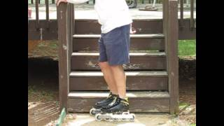 Inline Skating Basics - Slow Motion How To Climb and Descend Stairs