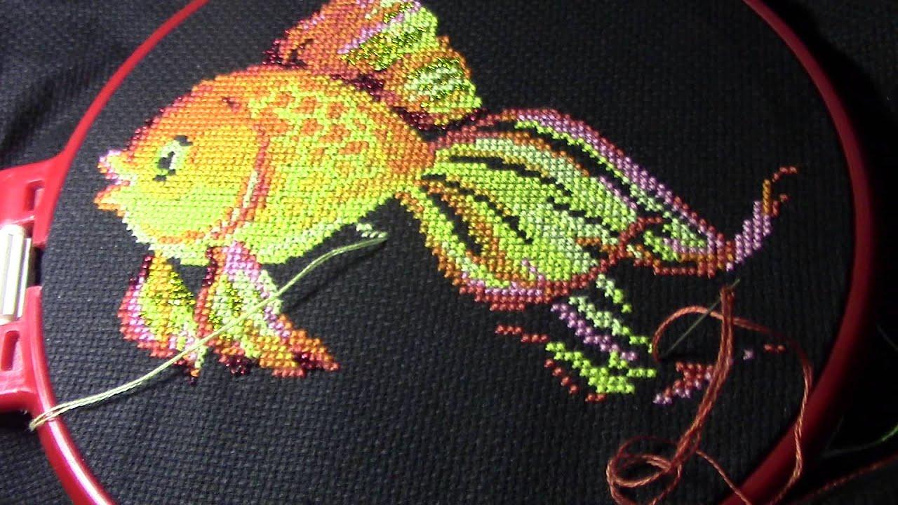 Золотая рыбка вышивка крестиком