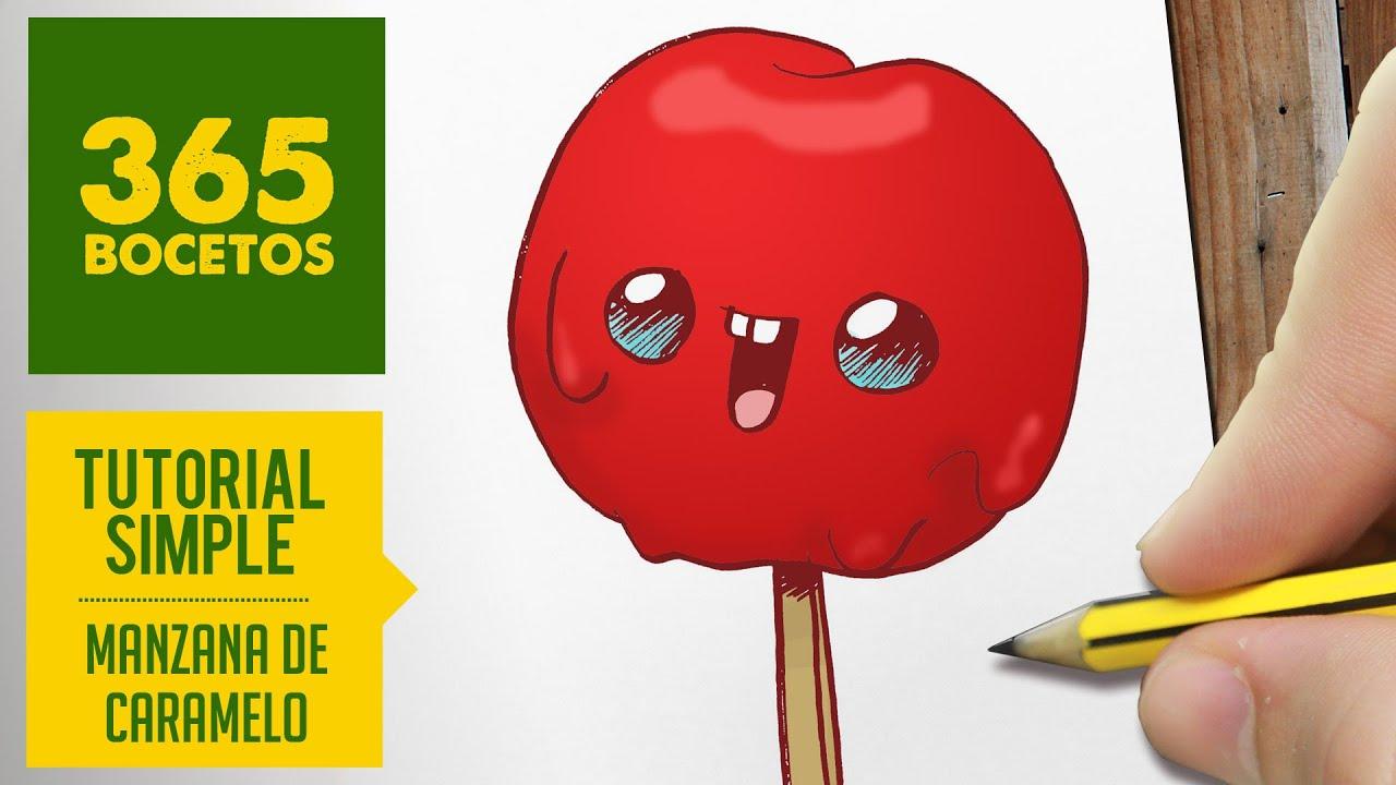 COMO DIBUJAR UNA MANZANA DE CARAMELO KAWAII PASO A PASO , Dibujos kawaii  faciles , draw candy apple , YouTube