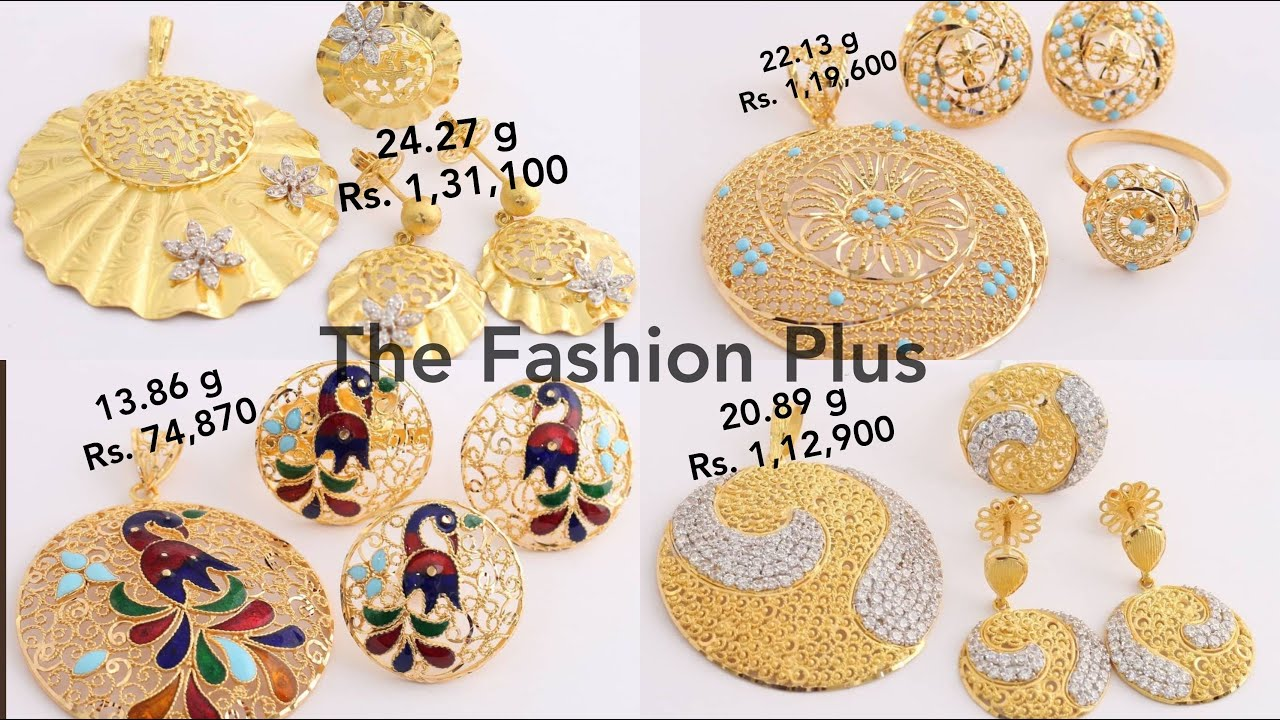 GOLD PENDANT SET WITH WEIGHT AND PRICE #thefashionplus