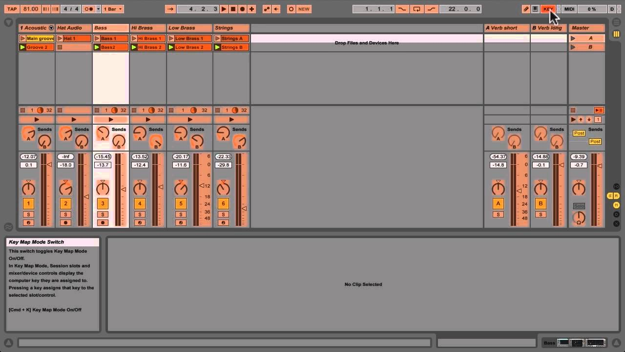 Key mapping in Ableton Live