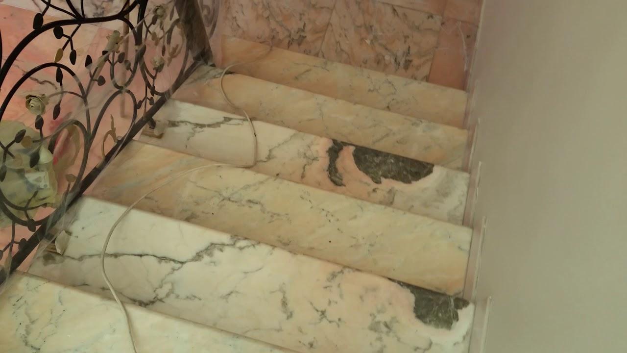 تلميع درج رخام روزا برتغالي في الرياض 0537335971 جلي الدرج بماكينه