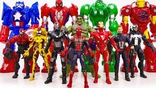 Power Rangers & Marvel Avengers Toys Pretend Play | SuperHero vs Dinosaur Venom Villains Army