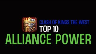 TOP 10 ALLIANCE POWER RANKING - CLASH OF KINGS: THE WEST