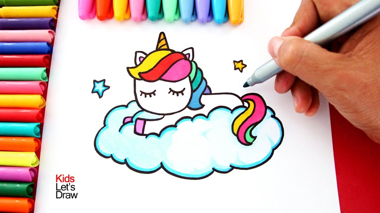 Aprende A Dibujar Un Unicornio Arcoiris Sobre Una Nube Estilo Kawaii Kidsletsdraw