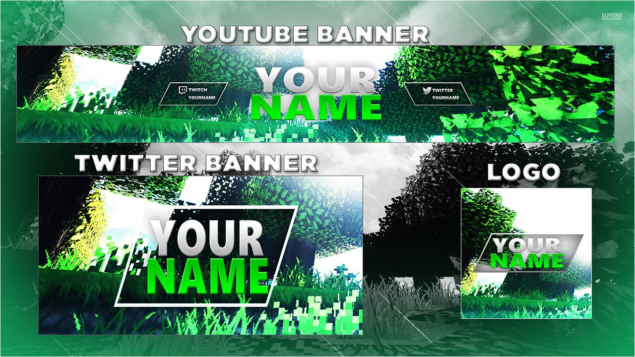 Free Minecraft Youtube Banner & Twitter Header Template / PSD - YouTube