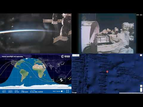 Space X CRS-13 Unloading During Sunset ISS Space Station Earth View LIVE NASA/ESA Cameras And Map 10