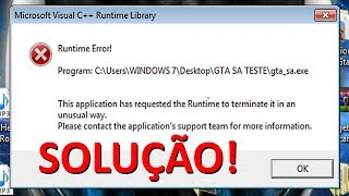"Runtime Error! Microsoft Visual C++ Runtime Library ""SOLUÇÃO"" PARA O GTA FULL HD 1080p"