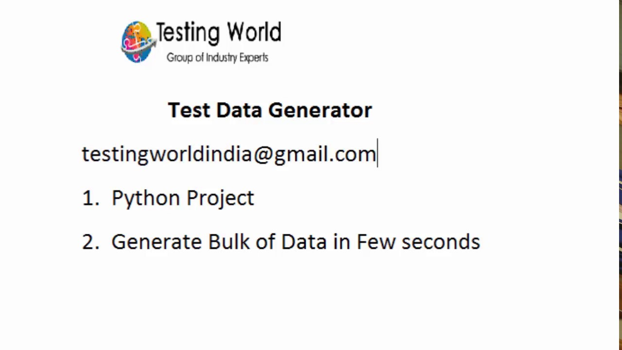 Test Data Generator : Python : - Generate Millions of Records