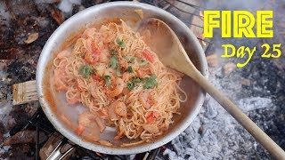 Cajun Shrimp & Pasta on a Campfire! | 28 Day Fire Challenge | Food & Fire