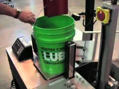 590 Semi Automatic 5 Gallon Bucket Labeler Youtube