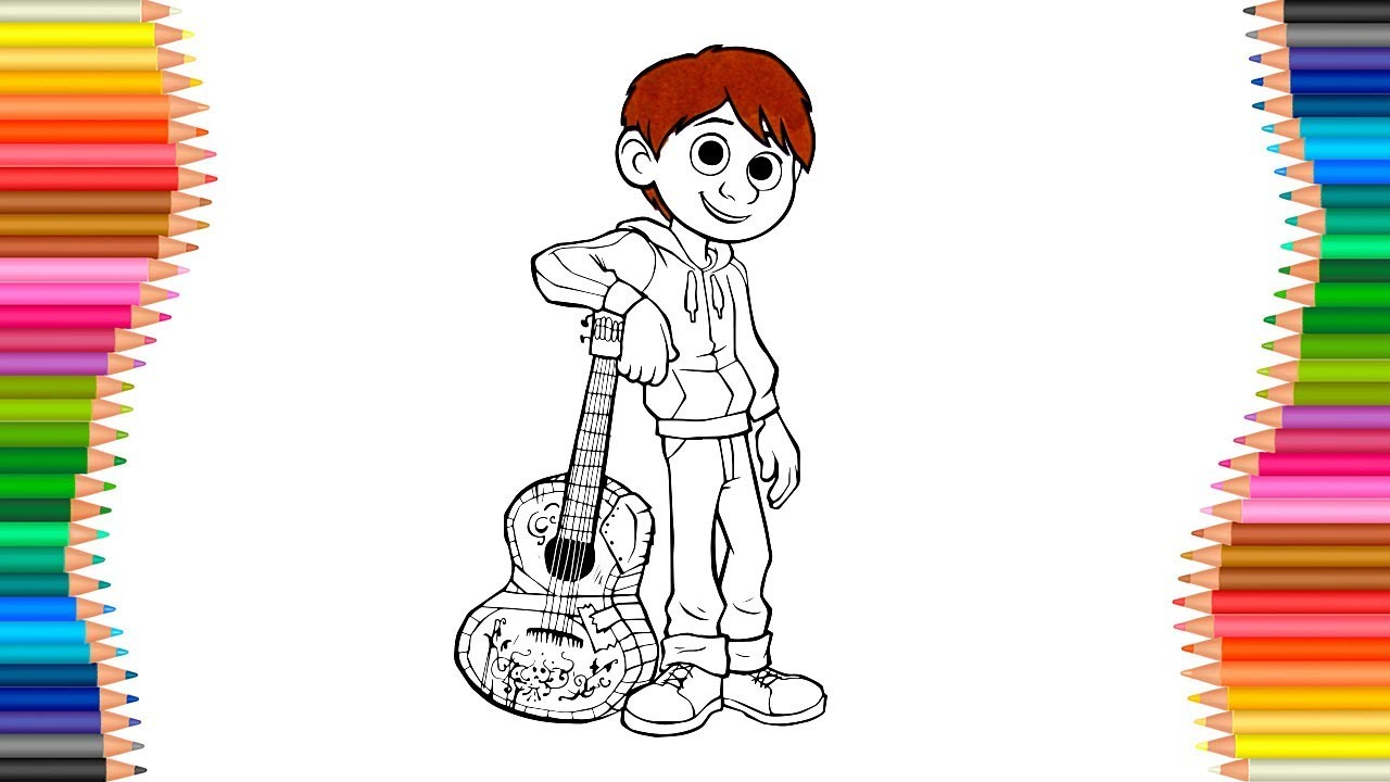 How To Draw Coco Miguel With Guitar | Cartoon Coloring Pages - YouTube