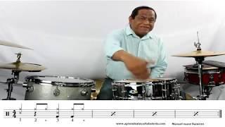 Aprende a tocar cumbia en la bateria con variacion en el bombo paso a paso con Manuel mane Ramirez