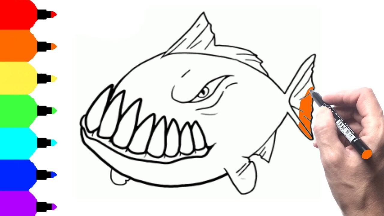How to Draw Angry Fish for Kids. Coloring Pages Fish. Fun Videos for ...