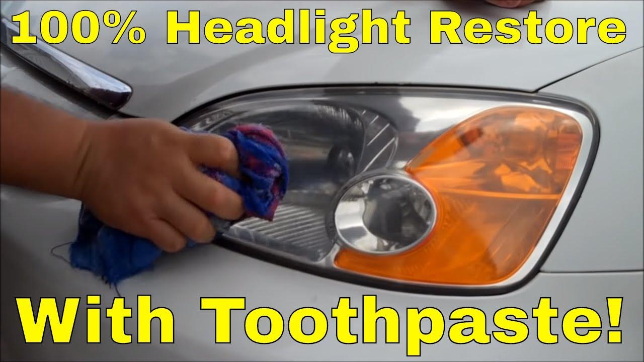 Headlight Lens Restore Using Toothpaste Youtube