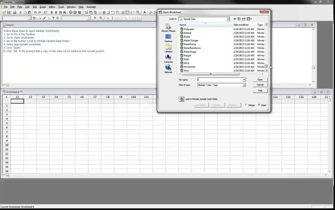 Opening Minitab Worksheets - YouTube