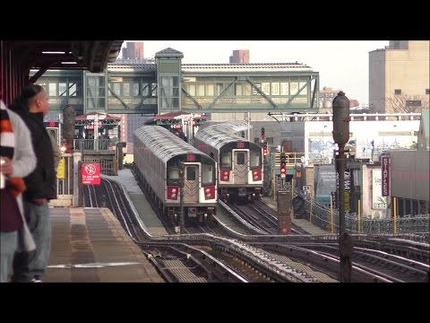 NYC Subway HD 60fps: One Hour of R188 7 Express & Local Train Service @ 90th Street–Elmhurst Avenue