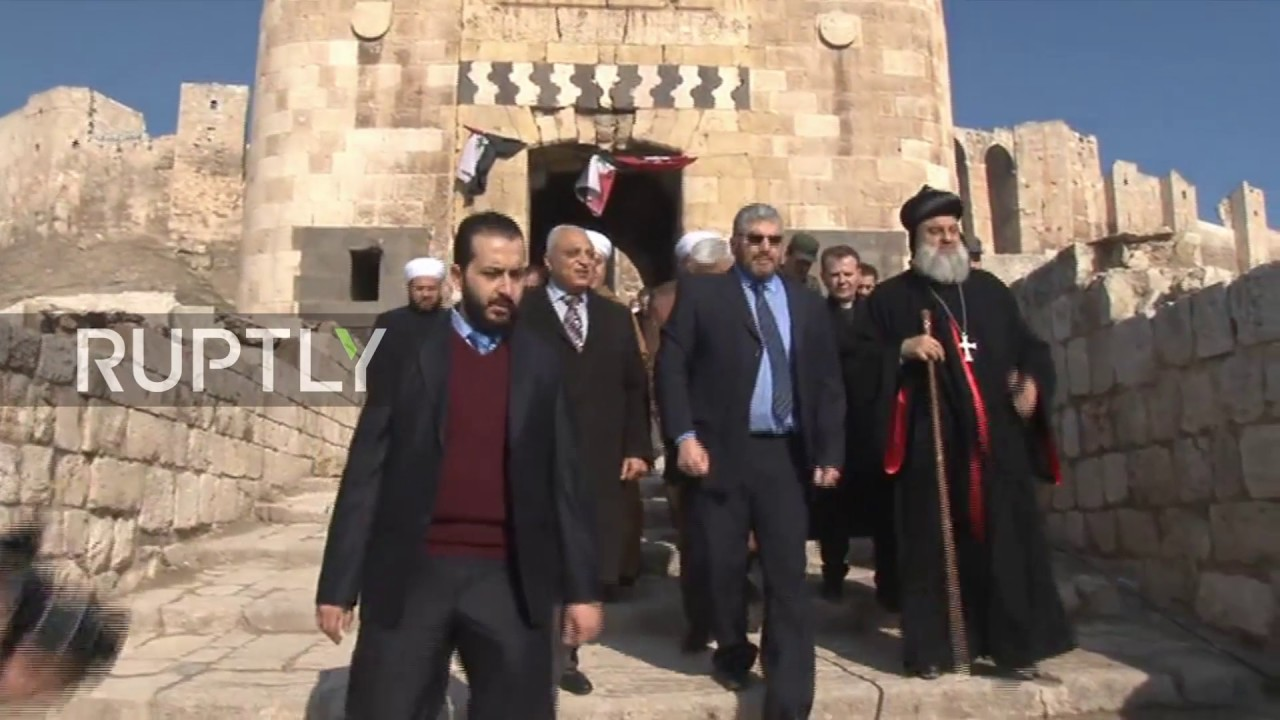 Syria Orthodox Patriarch Visits Liberated Old Town Of Aleppo Youtube