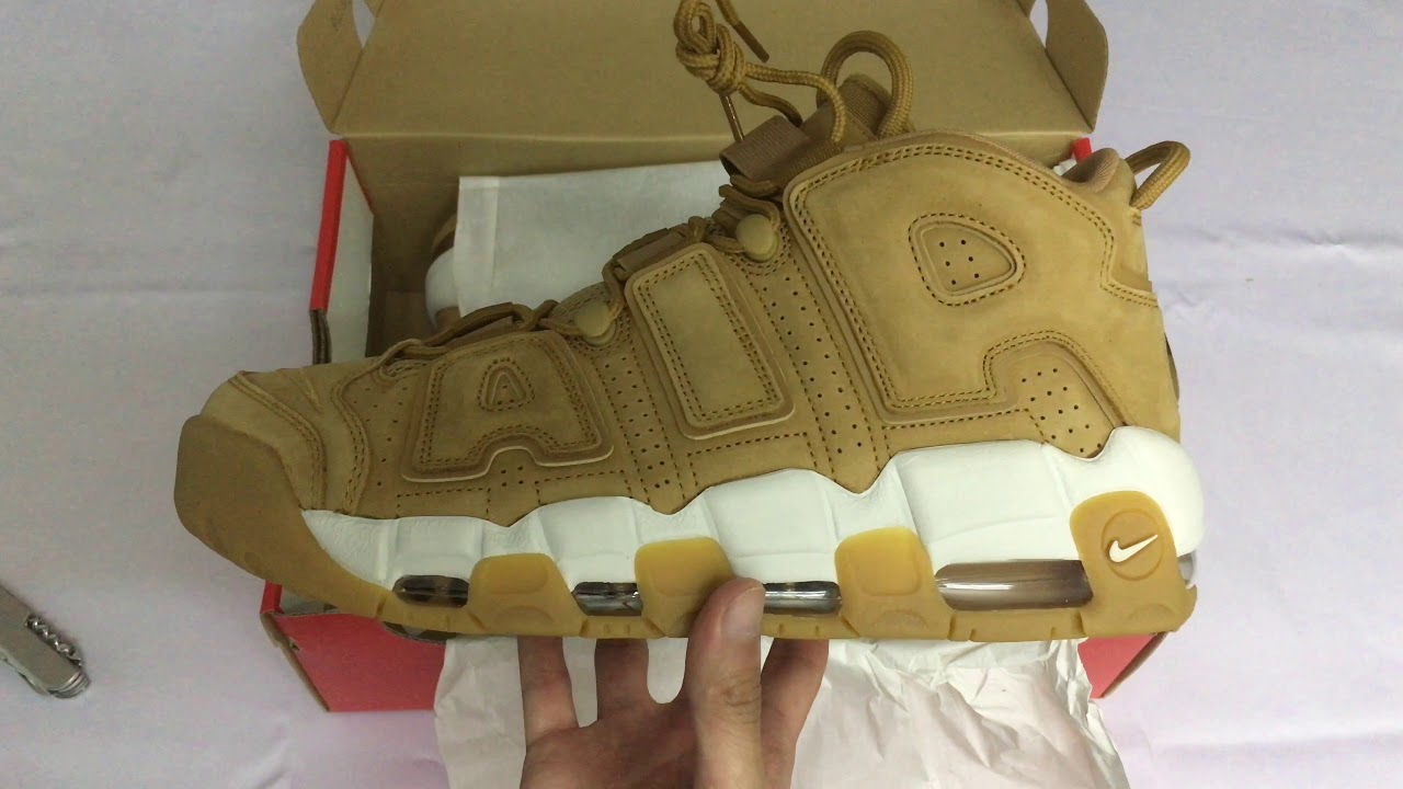 hot sales 247f8 97ab2  开箱  Nike Air More Uptempo  96 Premium Flax Wheat