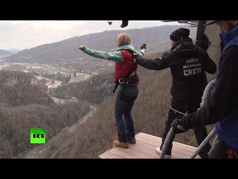 Корреспондент RT протестировала площадку для банджи-джампинга в Сочи