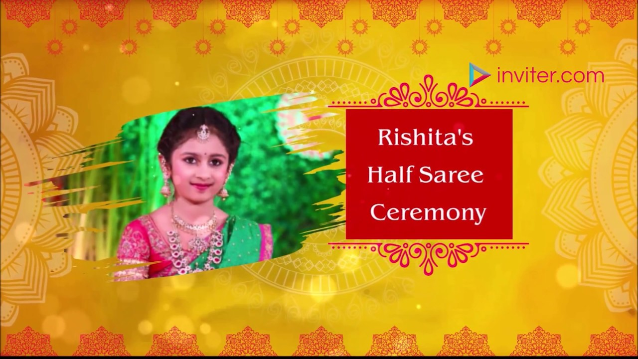 Half Saree Ceremony Video Invitation Voni Function Inviter Video