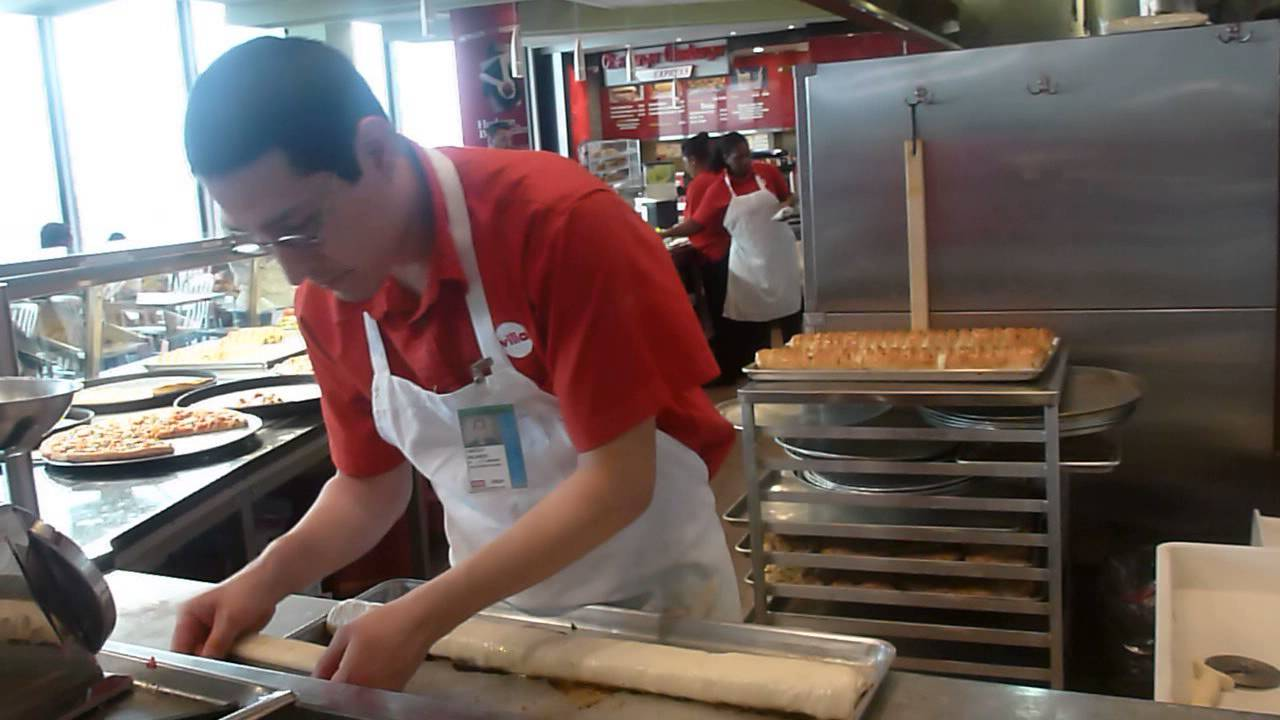 Chef making fresh pepperoni Stromboli at Villa Italian Kitchen at