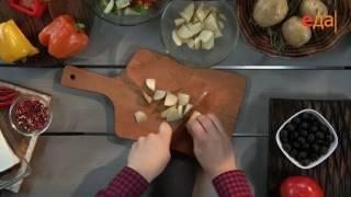 Картофельный салат с фетой и оливками