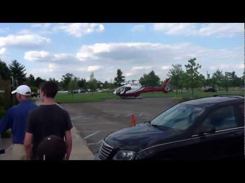 Dick Devos Jr. landing one of his Helicopters in Millenium Park, Grand Rapids Michigan
