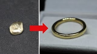 MAKING A GOLD RING FROM GOLD INGOT/BULLION (sandcasting)