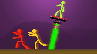 EXTREME DODGE THE BURNING LASER CHALLENGE! (Stick Fight)