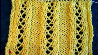 ВЯЗАНИЕ СПИЦАМИ! АЖУРНАЯ РЕЗИНКА №1 !Подробное объяснение.Knitting.