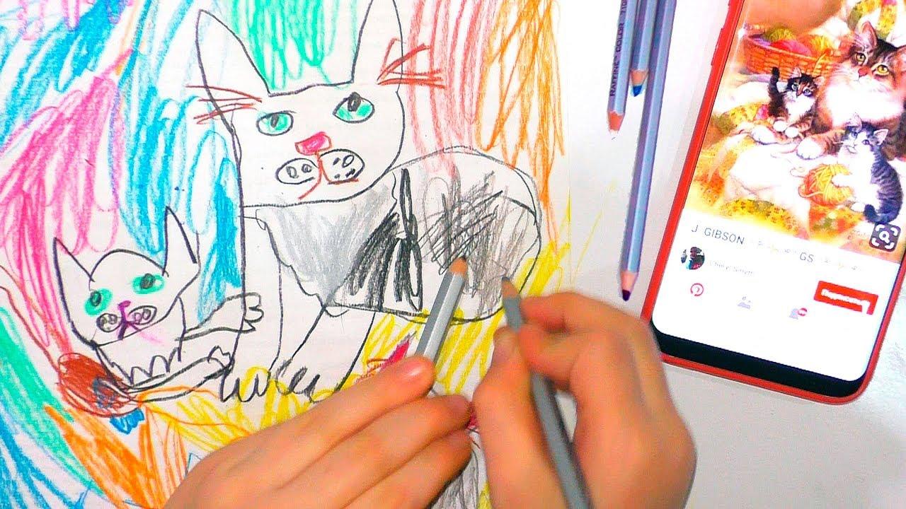 КОШКА С КОТЯТАМИ урок рисования для детей Рисунки Матильды ...