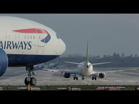 """Airplanes landing and Take off at """"Gatwick Airport"""" Close up views"""