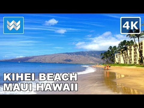 Walking along the shore of Kihei Beach in Maui, Hawaii 【4K】