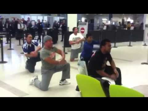 Tongan haka at Airport