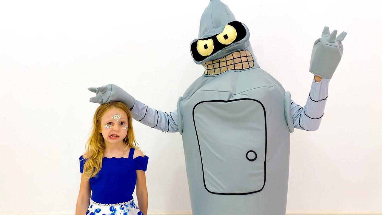 Nastya and her toy robot