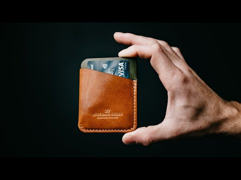 Making a SIMPLE handmade leather WALLET - ASMR