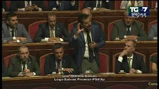 L'intervento di Matteo Salvini in Senato: 'Rilancio, amici del M5S tagliamo 345 parlamentari e ...