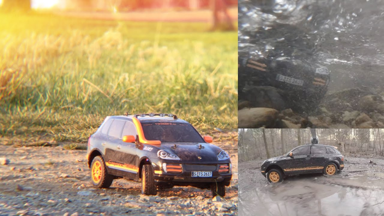 Tamiya df 01 porsche cayenne s transsyberia 2007 in amazing water meadow mud action must see youtube