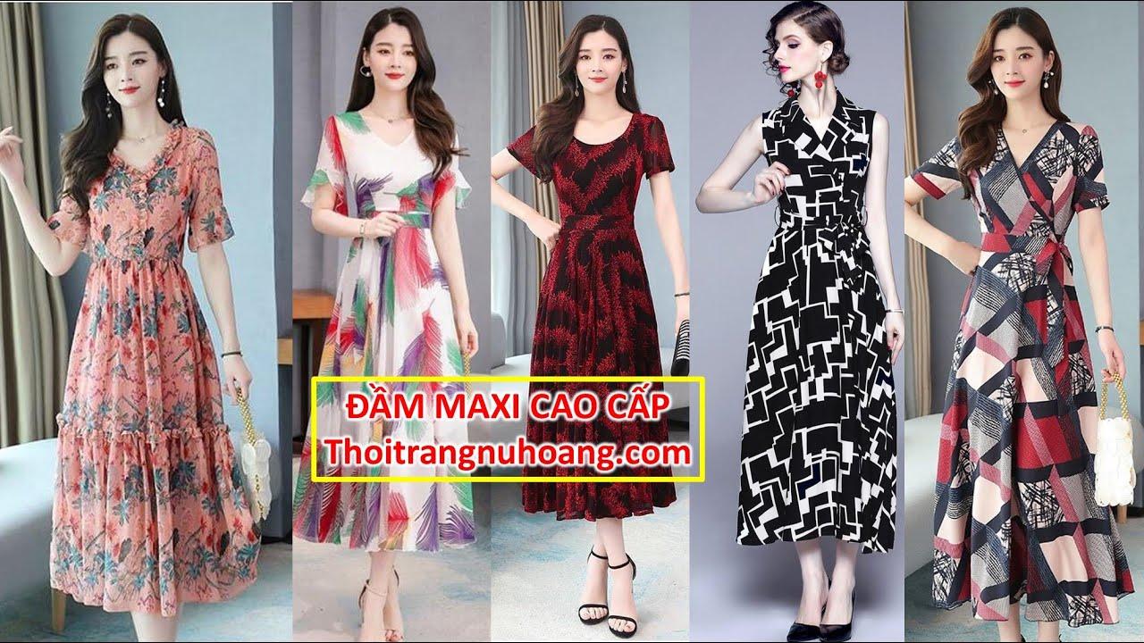 ĐẦM MAXI | Đầm Voan Trung Niên dạng xòe dáng dài | Thời trang trung niên U30, U40, U50 mặc đẹp | Tóm tắt các tài liệu nói về shop thoi trang trung nien u50 chuẩn nhất
